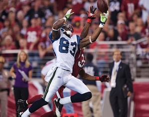 Rookie Ricardo Lockette earned his way into the active roster in Week 16 and wasted no time making his mark. This juggling catch on a deep route resulted in a 61-yard touchdown against the Cardinals. His season totals? Two catches for 105 yards (52.5 ypc) and a touchdown. Expect big things in 2012.