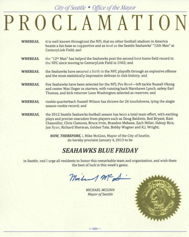 Blue Friday Proclamation